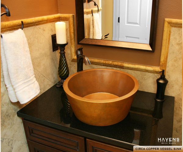 Copper vessel Circa bath sink in a customer's luxurious home bathroom.