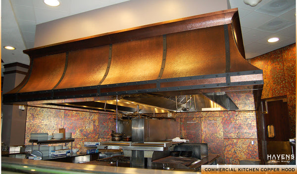 Custom copper commercial kitchen range hood for an Orlando restaurant.