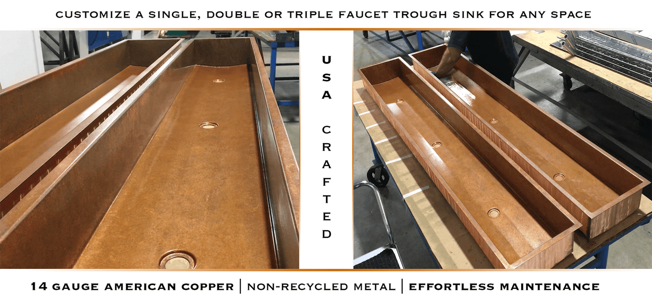 Copper trough sinks with triple faucets