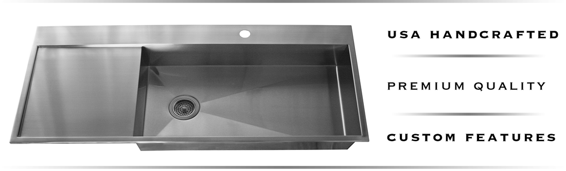Top mount stainless steel drainboard sinks built in the USA by Havens.