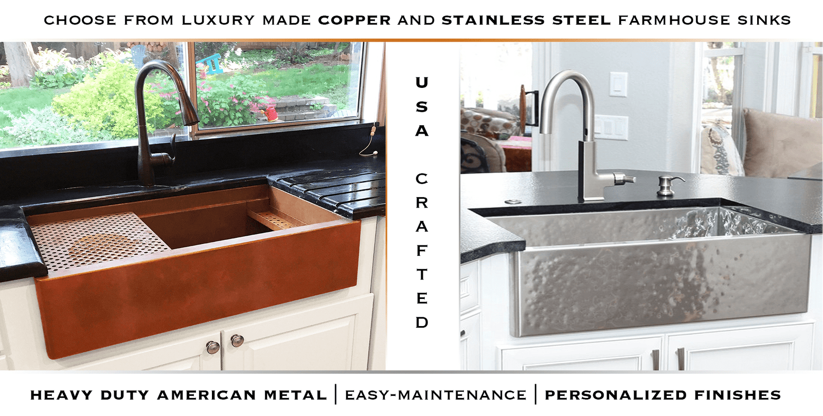 copper and stainless steel farmhouse sinks - havens metal