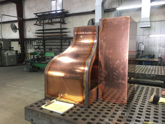 Custom copper range hood fabrication