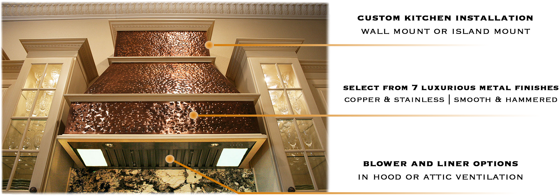 Orlando kitchen hood - Copper and Stainless Steel