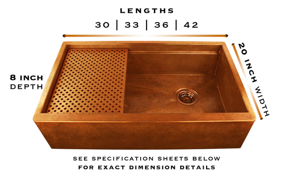 Legacy copper farm sink specs
