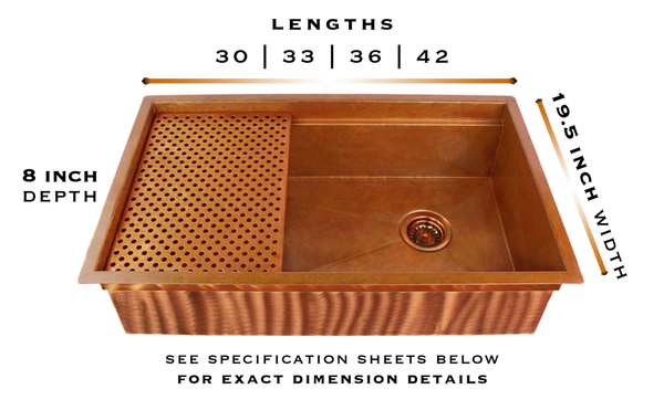 Legacy copper farm sink specifications