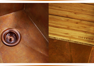 Luxury accessories for copper and stainless steel kitchen sinks.