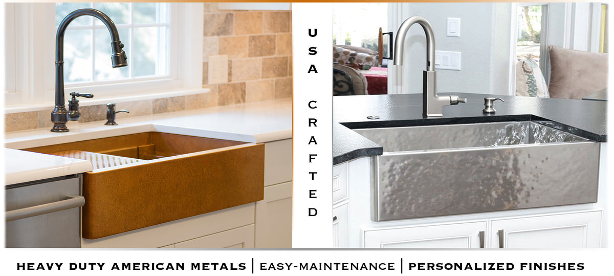 Copper and stainless steel farmhouse apron front sinks. Select from hammered and smooth farm sinks, custom made to your dimensions.