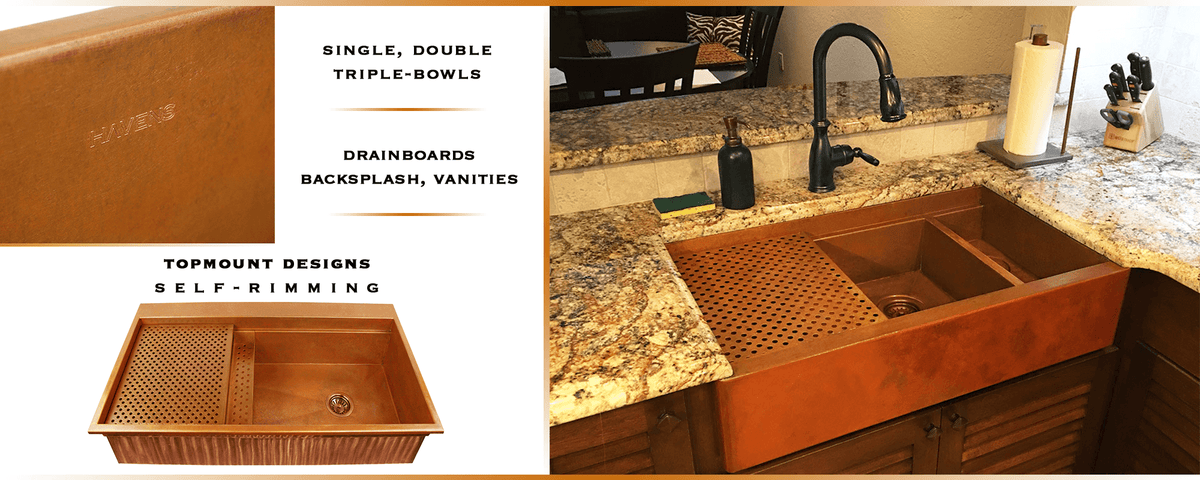 custom copper sinks usa made 14 gauge
