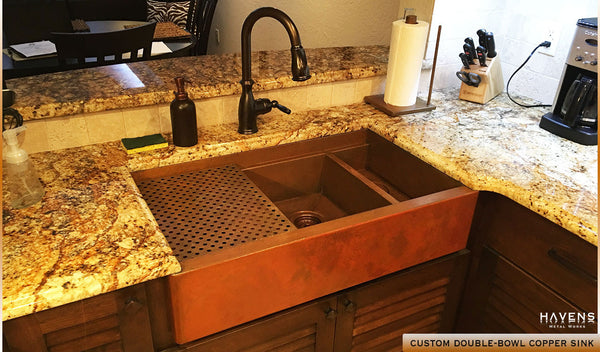 Kitchen with double bowl copper sink, built by Havens Metal in the USA form 14 ga. copper.