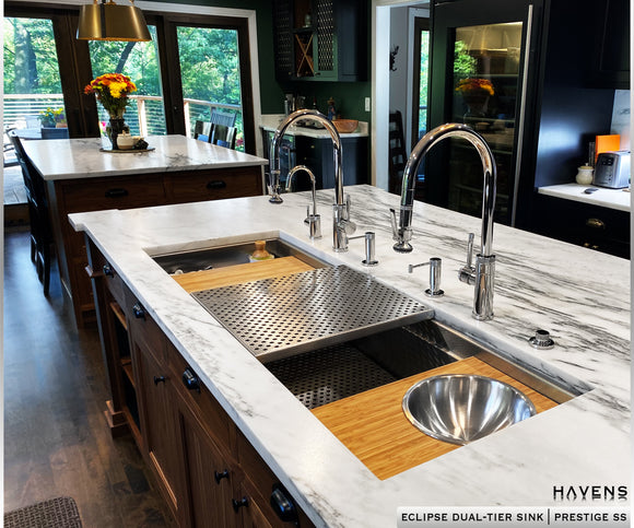 Custom workstation Galley sink dual tier by Havens 54 inch size