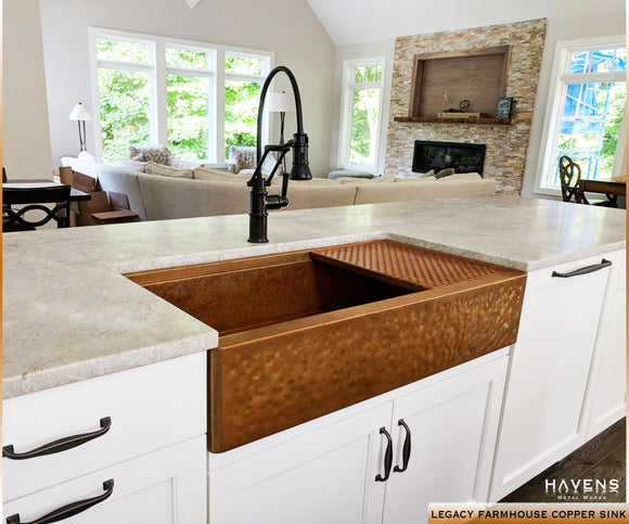 Hammered Copper U0026 Stainless Farmhouse Sinks