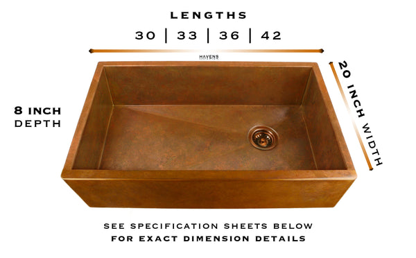 Heritage copper farmhouse sink specs