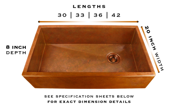Heritage copper farmhouse sink specifications