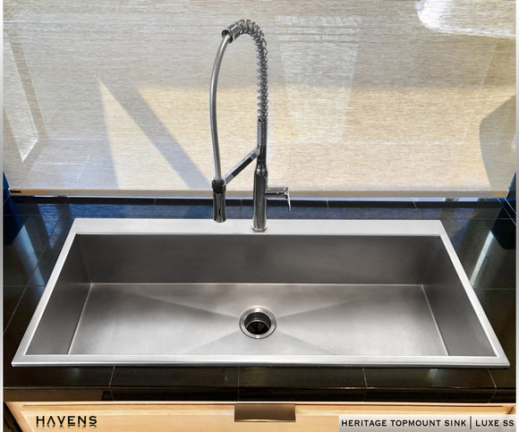 custom stainless top mount sink with deck for faucet