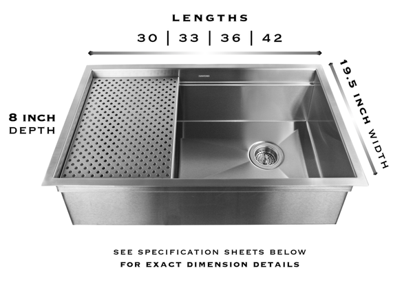legacy brushed stainless sink specs