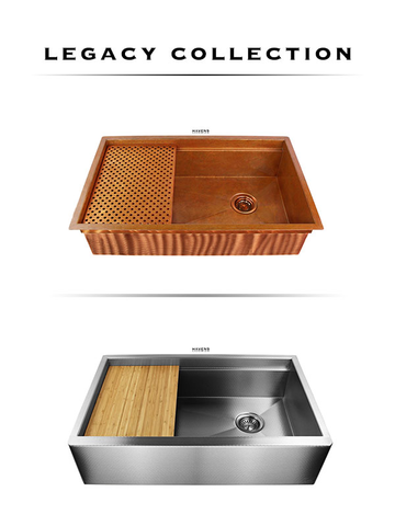 The Legacy Copper and stainless steel kitchen sink collection