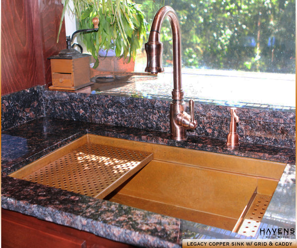Legacy copper undermount sink in a Havens customer's kitchen.