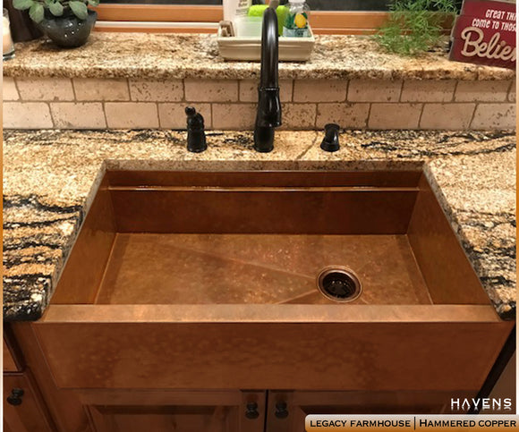 Attirant Hammered Copper Farm Style Sink With An Apron Front And Built In Ledge,  Designed And ...