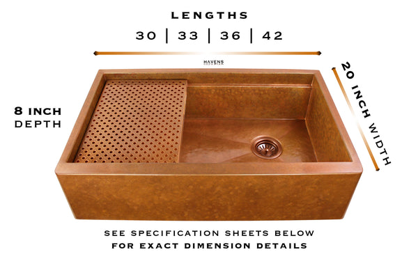 Hammered copper Legacy workstation sink