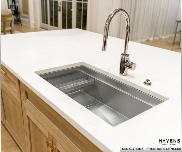 Custom Stainless Steel Legacy Undermount Kitchen Sink With A Built In  Workstation Ledge.