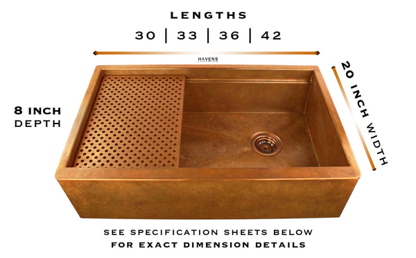 Legacy copper farmhouse workstation sink