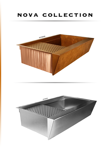 Nova Collection of Copper and stainless steel undermount sinks