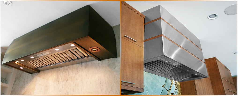 Stainless steel and brass Kitchen range hoods ventilation liner system with blower and fan, custom handcrafted by Havens.