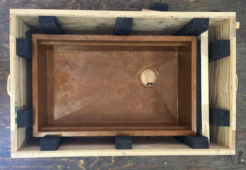 havens metal sink in crate