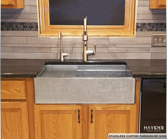 Farmhouse custom kitchen sink with wooden cabinets