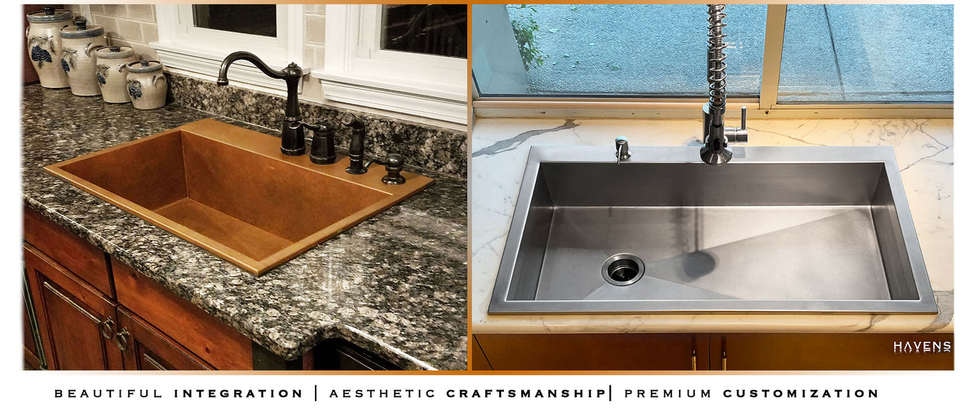 Top mount custom sinks in copper and stainless steel