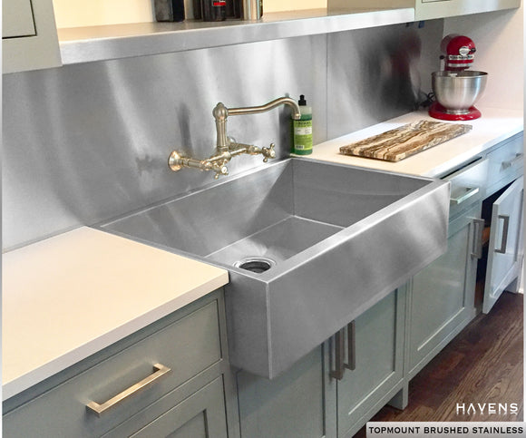 Custom brushed stainless steel sink, fabricated by Havens Metal in the USA and installed as a drop in.