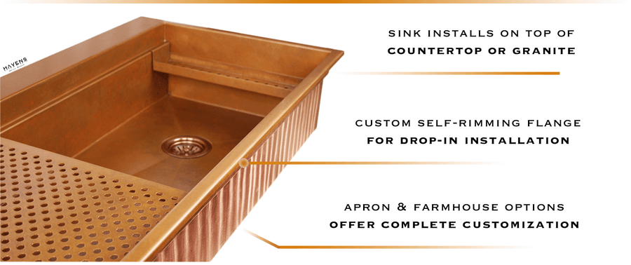 Drop in a top mount copper sink over existing countertops with a beautiful self-rimming design.