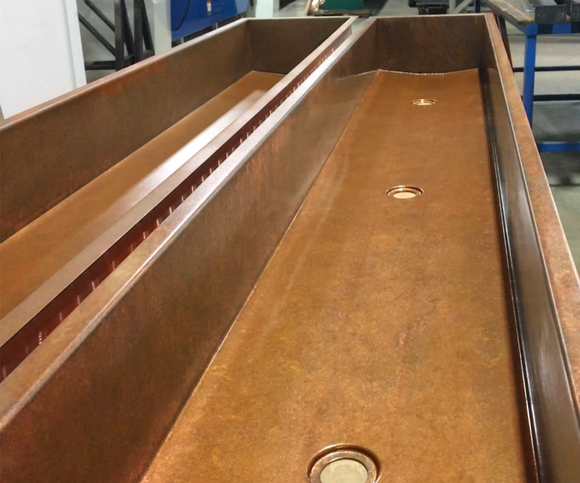 custom copper trough sinks with bath drain for commercial bathroom