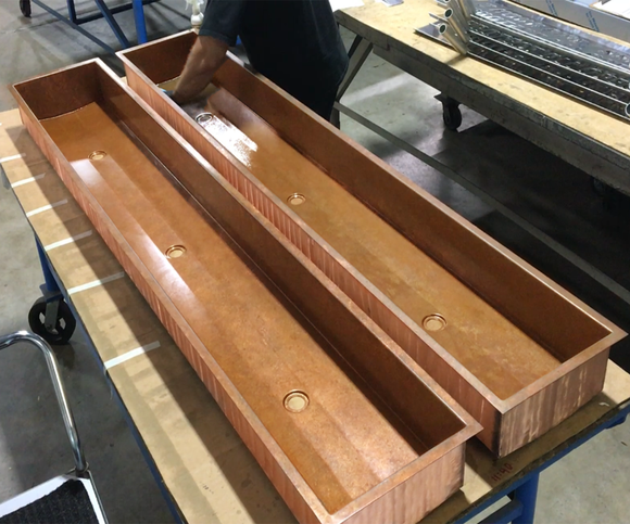 custom copper trough sinks with 3 x drain locations