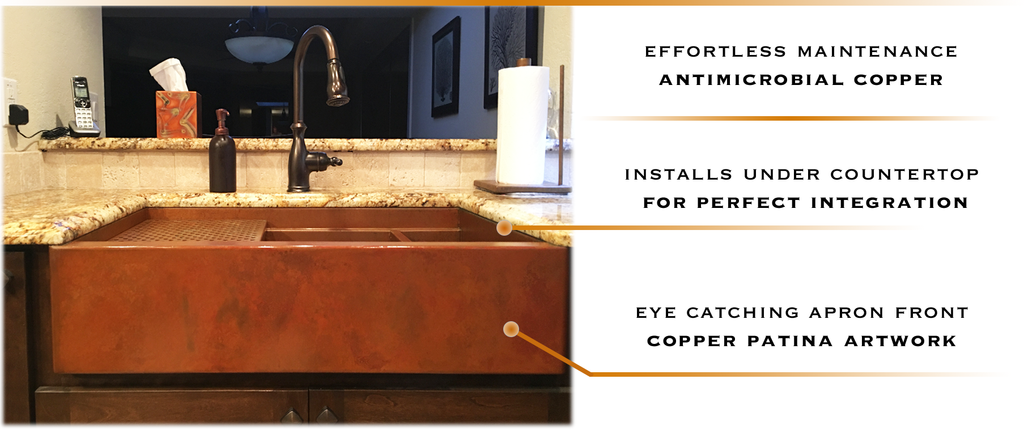 undermount custom copper sinks