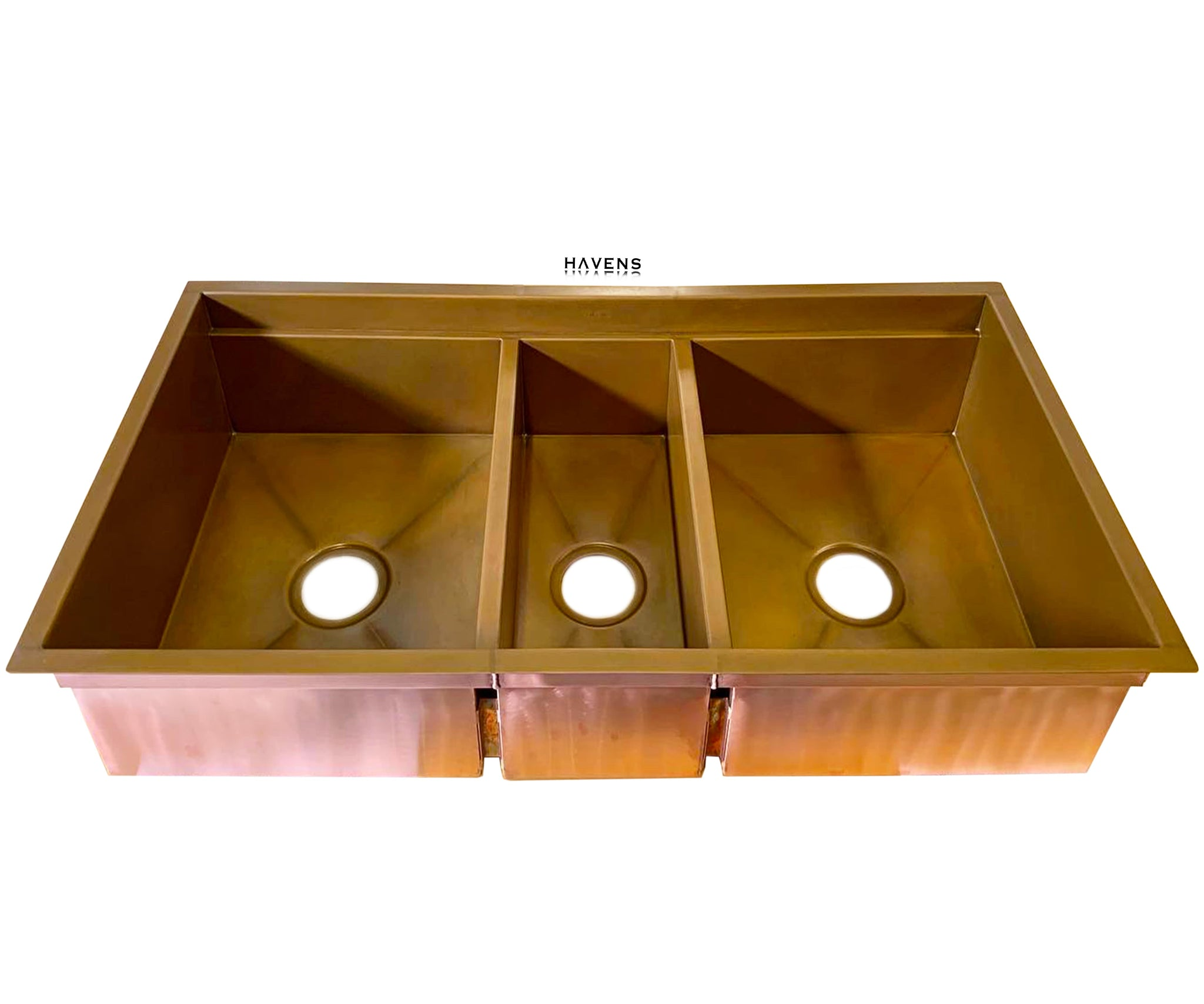 Trinity Triple-Bowl Undermount Sink - Copper