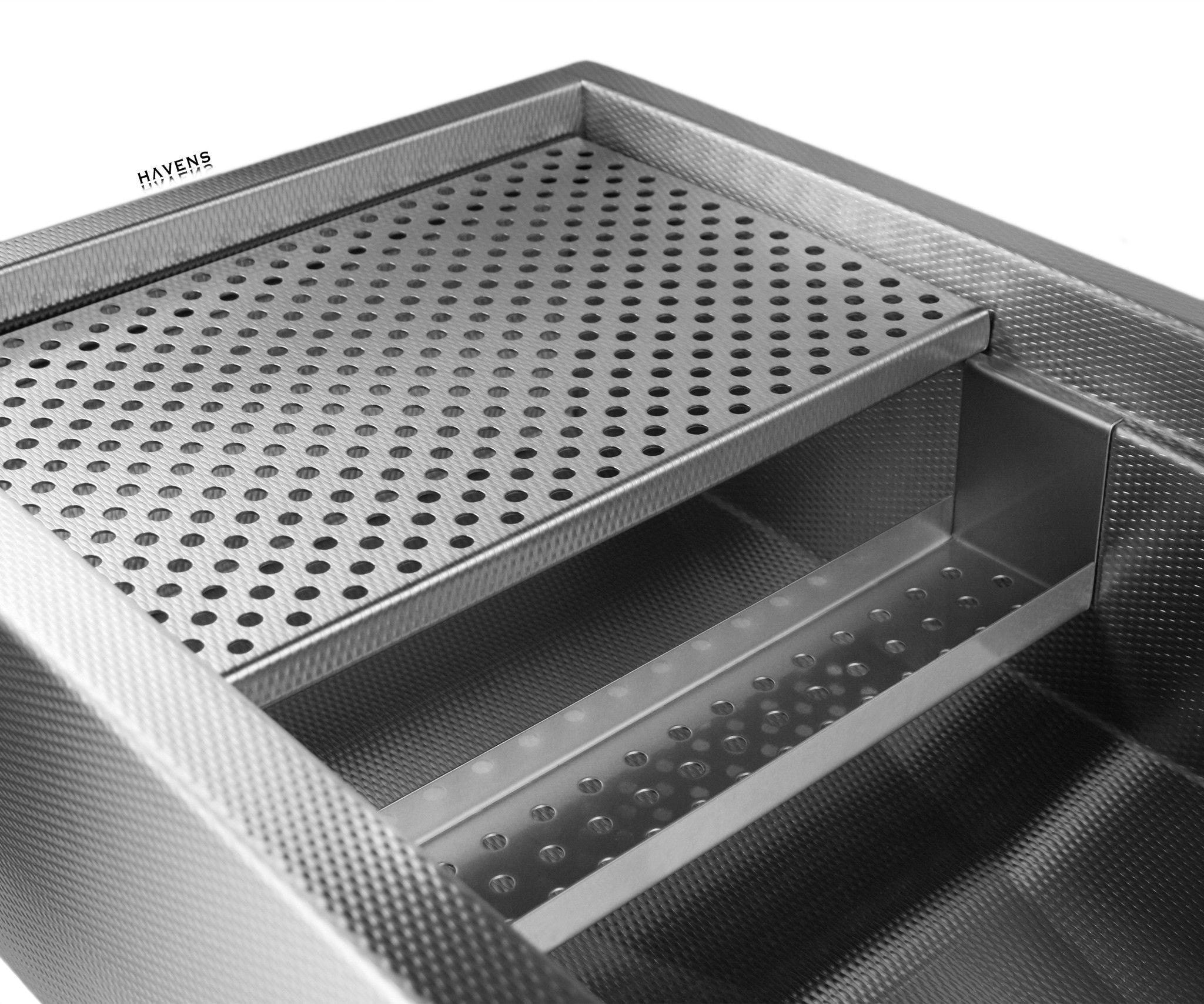 Stainless steel grid drain and sponge caddy