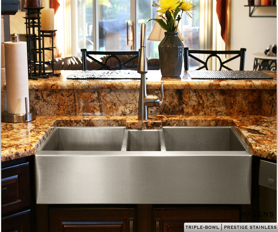 Trinity Stainless Farmhouse Sink - Triple Bowl