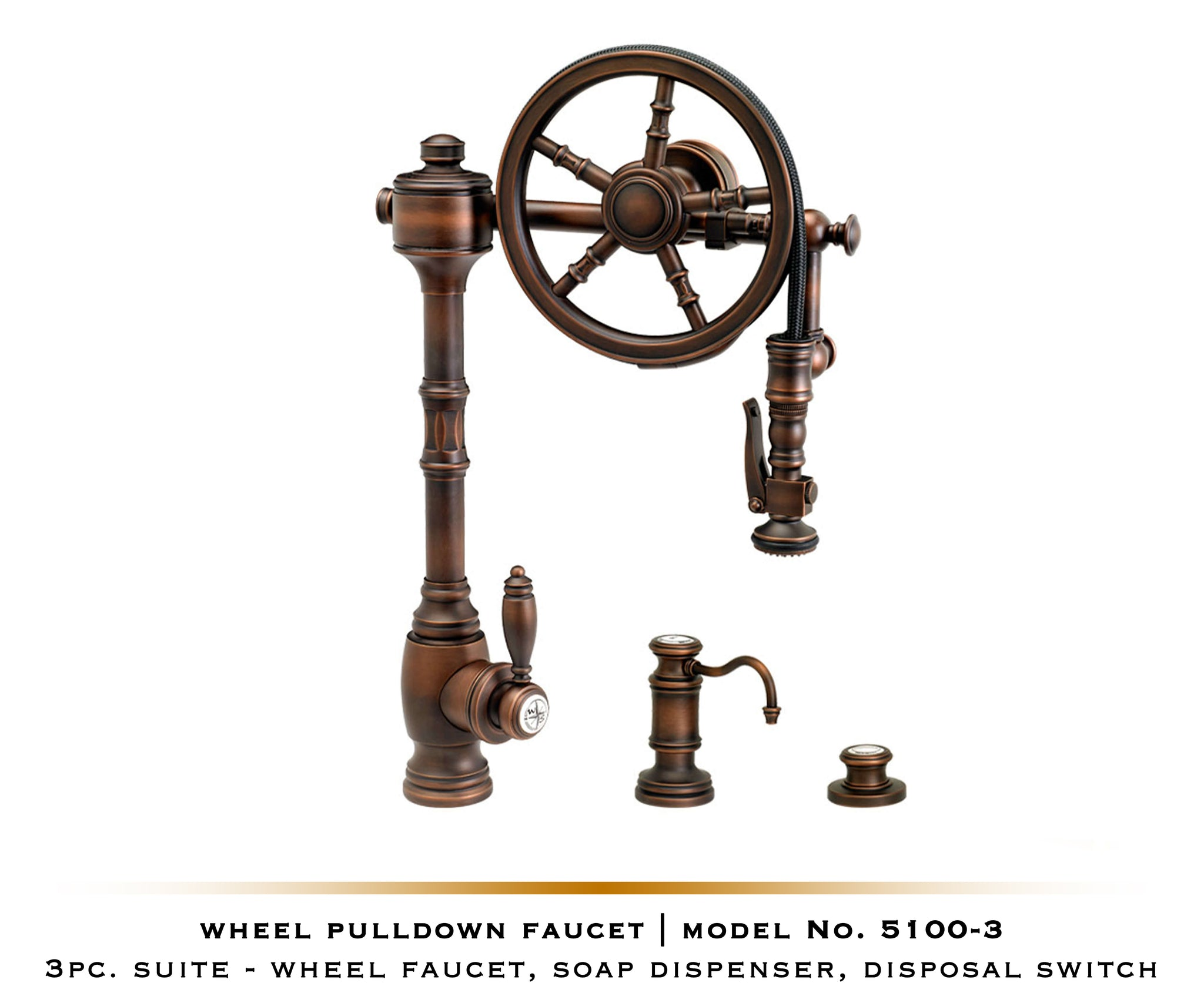 Traditional Wheel Pulldown Waterstone Kitchen Faucet | 5100