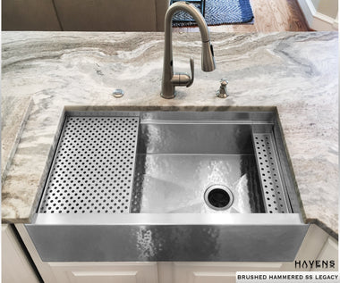 Hand hammered stainless steel farm sink