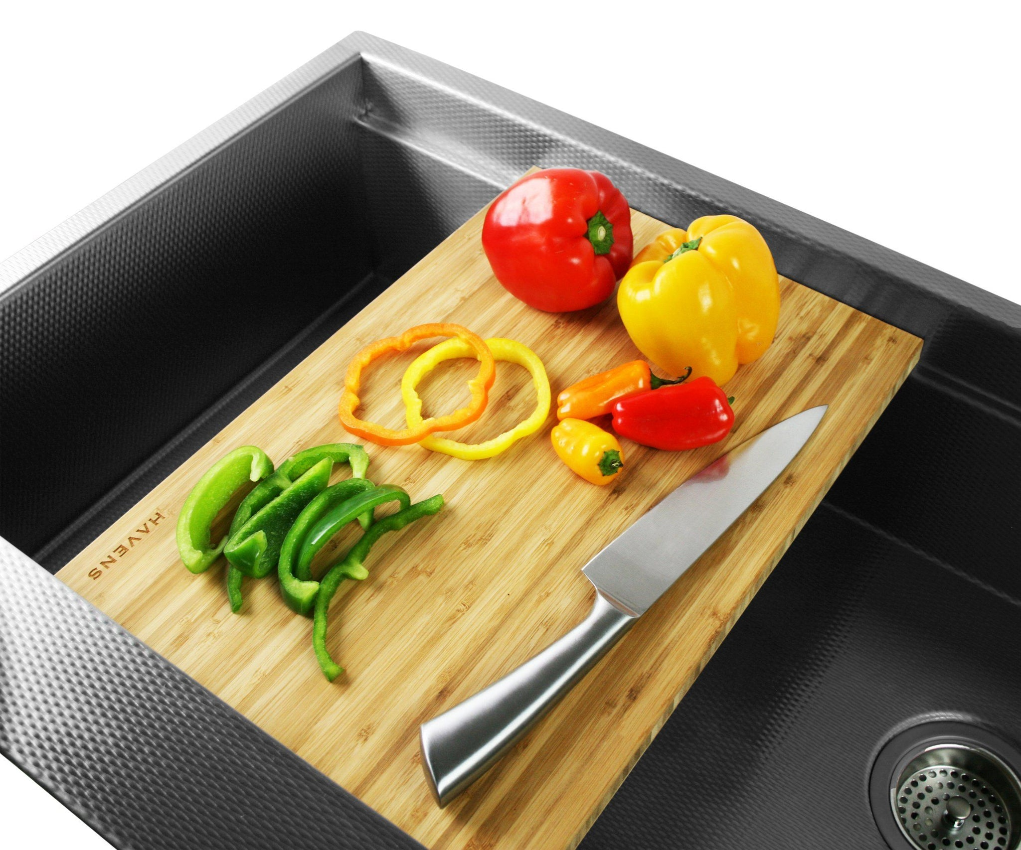 Light bamboo cutting board for stainless steel kitchen sink