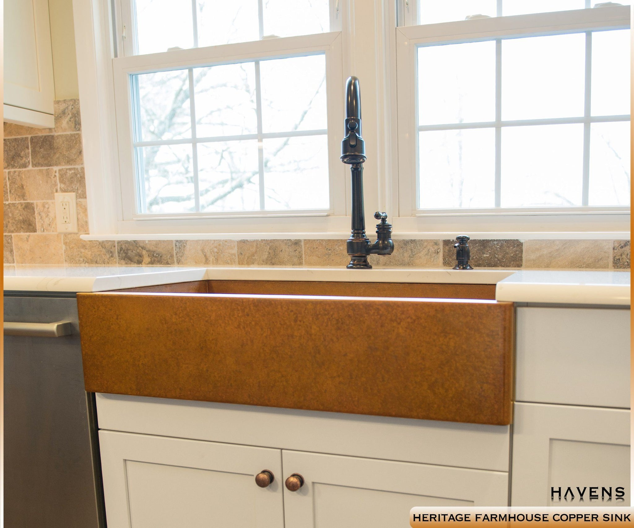 Farmhouse apron copper kitchen sink, made in the USA from 14 gauge.