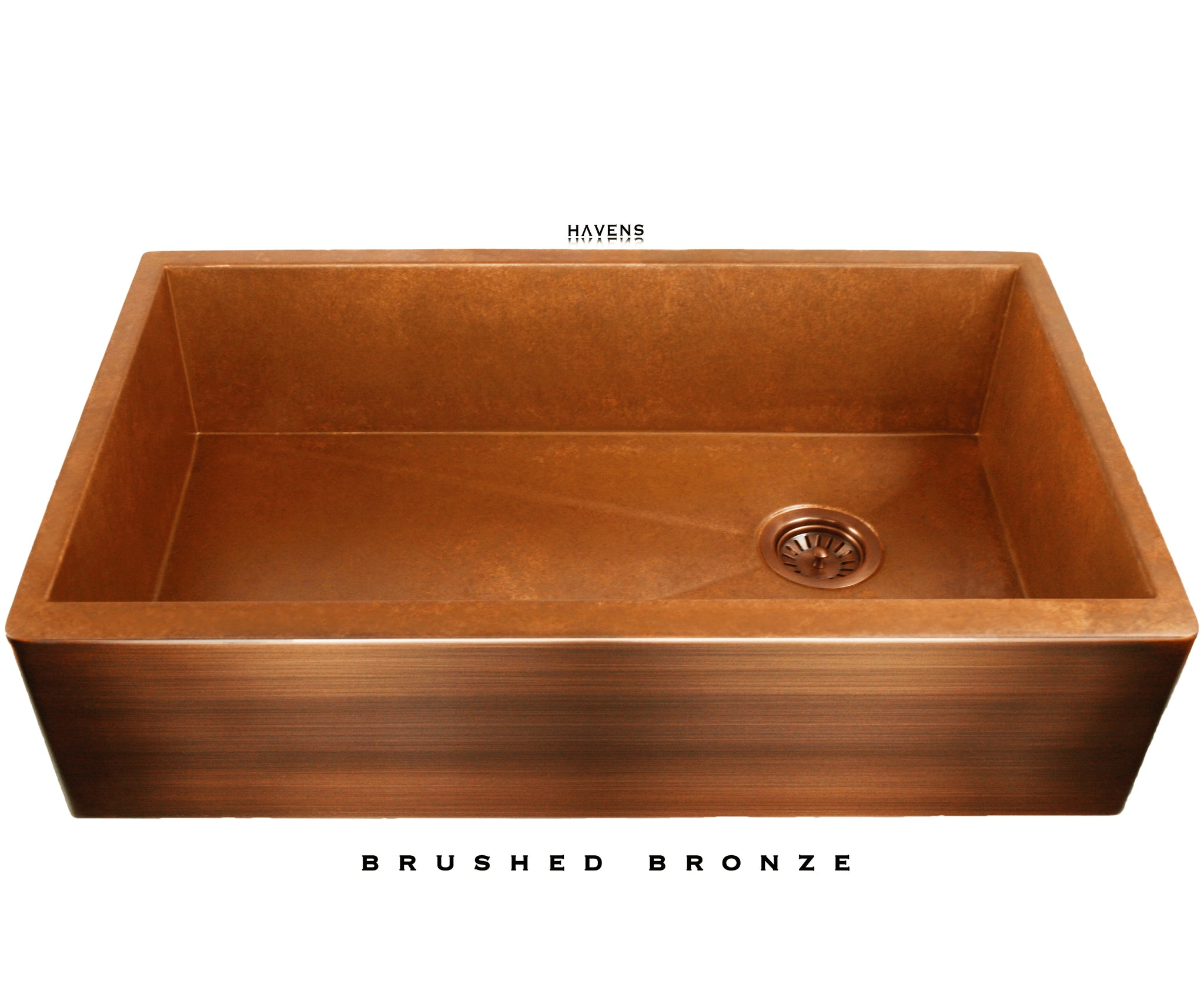 Heritage copper farm style sink with a beautiful patina apron front.