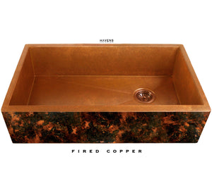 Copper sink patina with a dark look.