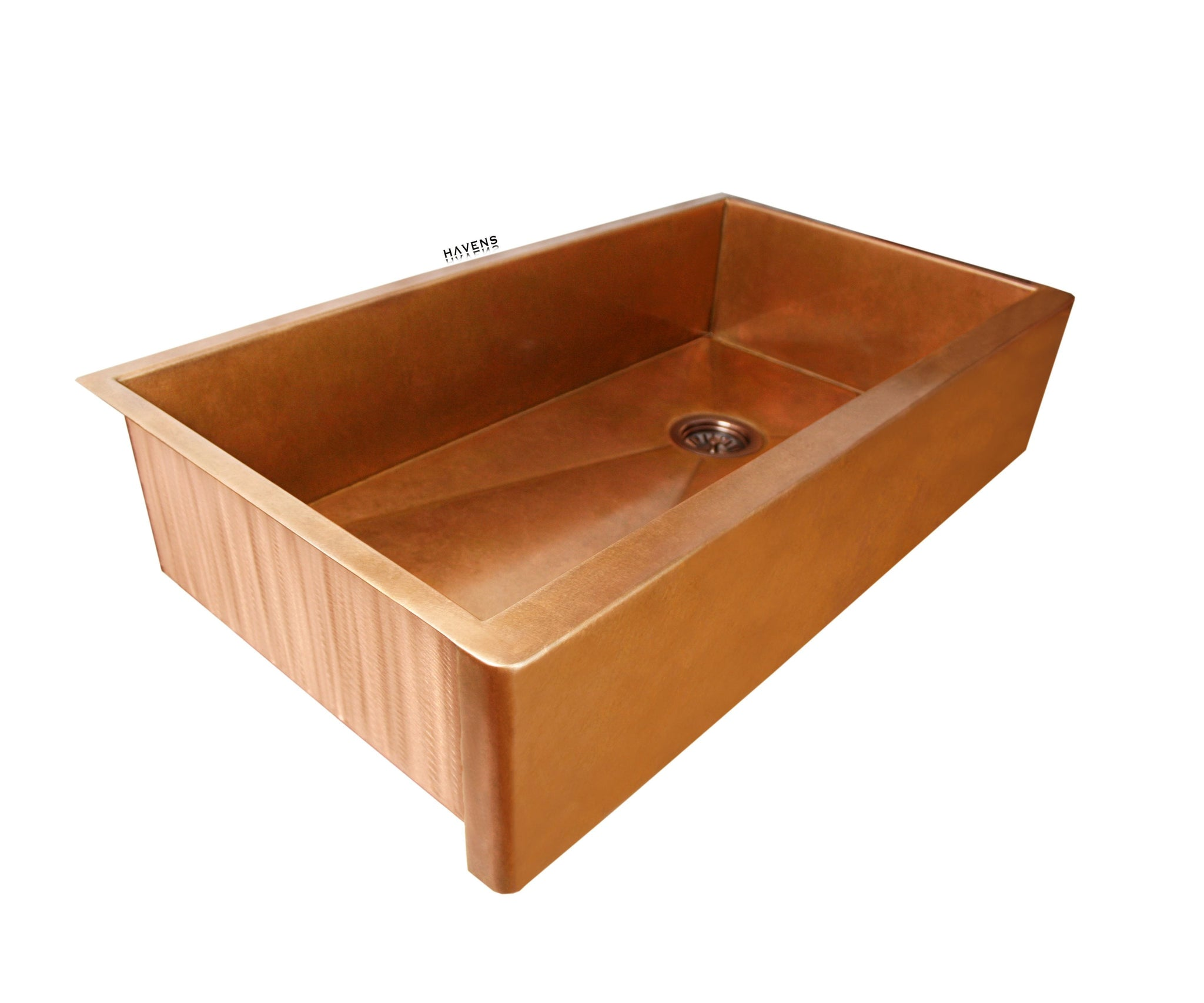 Single bowl 33 inch farmhouse copper kitchen sink installs as an undermount.
