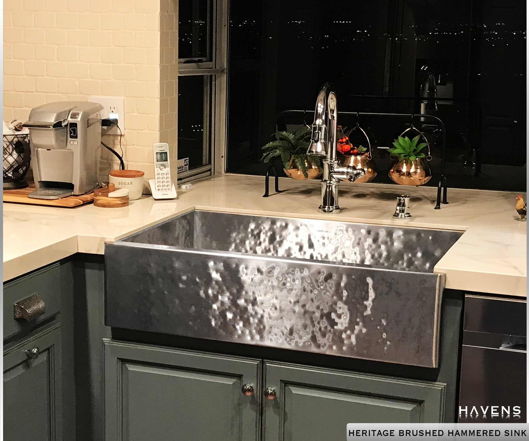Hammered stainless steel farmhouse sink sink. The Heritage 16 gauge ss sink by Havens Luxury Metals.