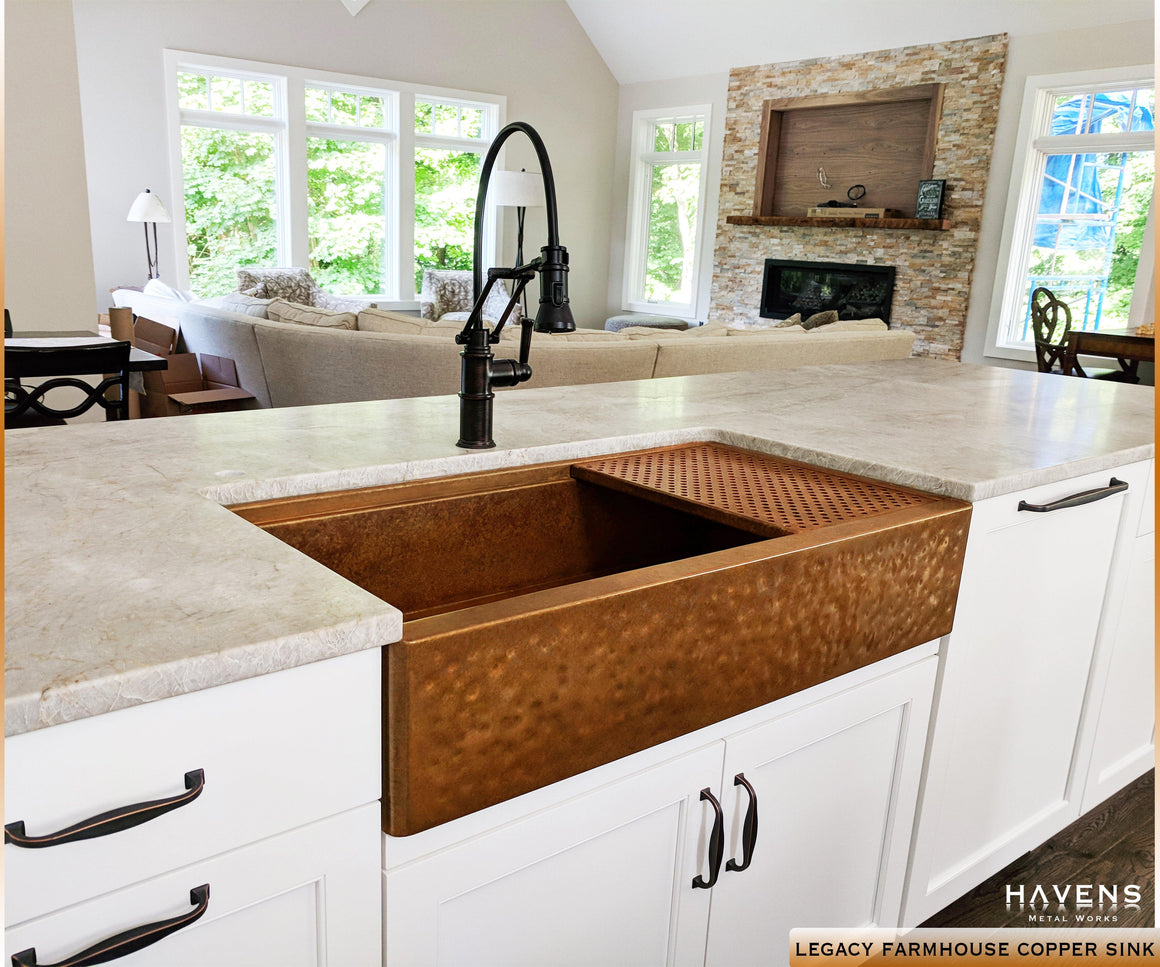 Legacy - Legacy Farmhouse Sink - Hammered Copper