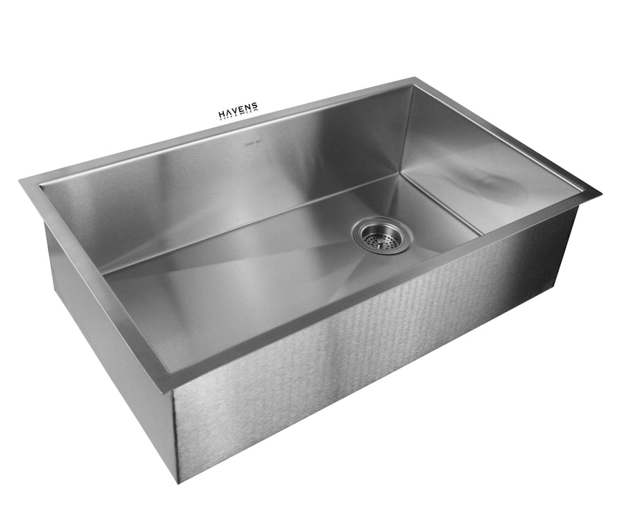 Undermount stainless steel kitchen sink with the signature brushed finish by Havens.