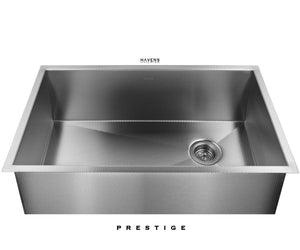 Heritage under mount stainless steel kitchen sink handmande in the USA by Havens.