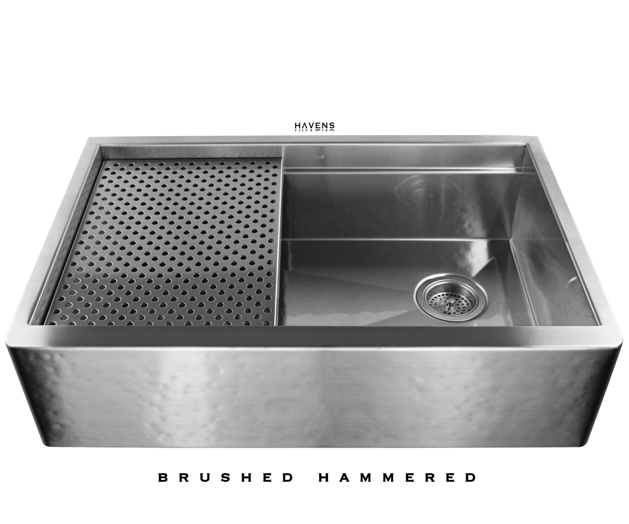 Legacy   Legacy Brushed Hammered Stainless Steel Farmhouse Sink   Undermount